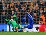 Demba Ba of Chelsea scores their second goal during the UEFA Champions League Quarter Final second leg match between Chelsea and Paris Saint-Germain FC at Stamford Bridge on April 8, 2014