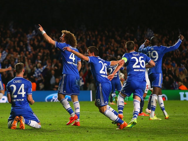 Gary Cahill, David Luiz, Cesar Azpilicueta, John Terry and Demba Ba of Chelsea celebrate victory as the final whistle is blown during the UEFA Champions League Quarter Final second leg match between Chelsea and Paris Saint-Germain FC at Stamford Bridge on