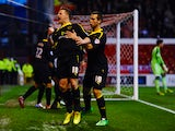 Chris Maguire of Sheffield Wednesday celebrates scoring a first half penalty during the Sky Bet Championship match between Nottingham Forest and Sheffield Wednesday at City Ground on April 8, 2014