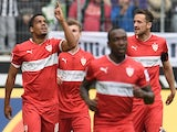 Stuttgart's midfielder Daniel Didavi and his teammates celebrate after scoring during the German first division Bundesliga football match against Borussia Moenchengladbach on April 12, 2014