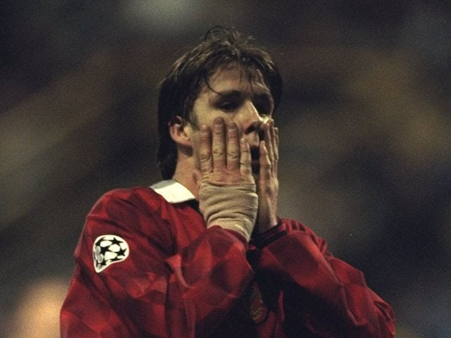 David Beckham, then of Manchester United, reacts to missing a chance against Borussia Dortmund on April 09, 1997.