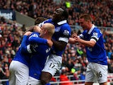 Steven Naismith, Romelu Lukaku and James McCarthy of Everton celebrate after Wes Brown of Sunderland scores an own goal during the Barclays Premier League match between Sunderland and Everton at Stadium of Light on April 12, 2014