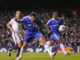 Frank Lampard stoops to score for Chelsea against Bordeaux on September 16, 2008.