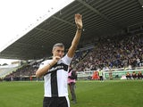 Hernan Crespo salutes the crowd before the 100 Years Anniversary match in Parma on October 13, 2013