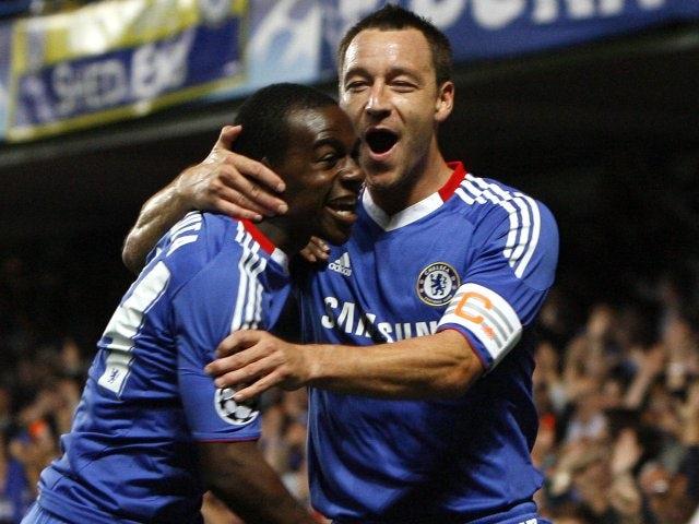 John Terry celebrates scoring for Chelsea against Marseille on August 28, 2010.