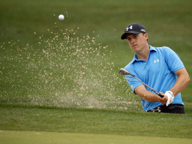 Jordan Spieth plays a shot from the bunker on April 03, 2014.