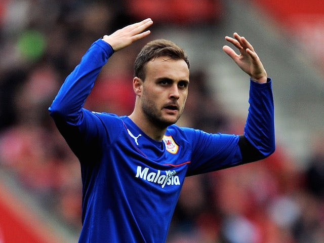 Juan Cala of Cardiff celebrtaes after scoring the opening goal during the Barclays Premier League match against Southampton on April 12, 2014