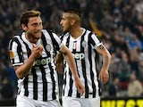 Juventus' midfielder Claudio Marchisio celebrates after scoring during the UEFA Europa League quarter-final football match Juventus vs Olympique Lyonnais, on April 10, 2014