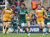 Manu Tuilagi of   breaks with the ball during the Aviva Premiership match between Leicester Tigers and London Wasps at Welford Road on April 12, 2014