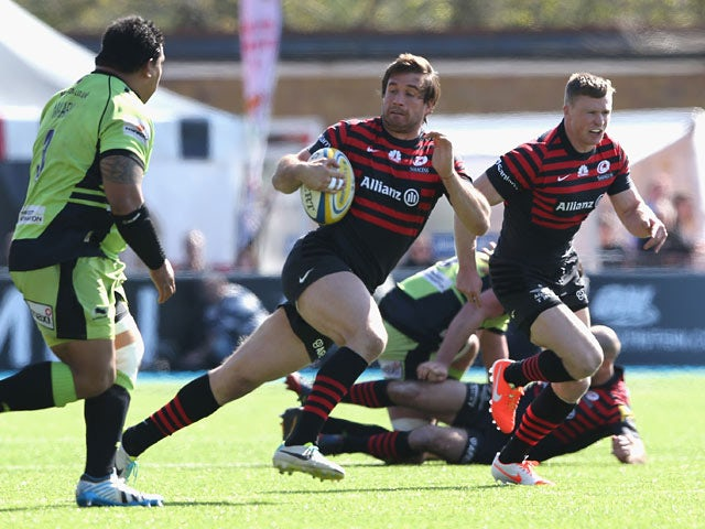 Saracens' Marcelo Bosch breaks with the ball against Northampton Saints during the Aviva Premiership match on April 13, 2014