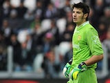 Chievo Verona's Michael Agazzi in action against Juventus during the Serie A match on February 16, 2014