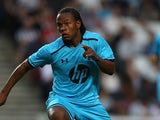 Tottenham's Shaquile Coulthirst in action against MK Dons during a friendly match on July 31, 2013