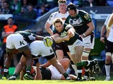 London Irish's Tomas O'Leary passes from a maul against Newcastle Falcons during the Aviva Premiership match on April 13, 2014