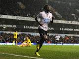 Emmanuel Adebayor of Tottenham Hotspur celebrates scoring his team's first goal during the Barclays Premier League match between Tottenham Hotspur and Sunderland at White Hart Lane on April 7, 2014