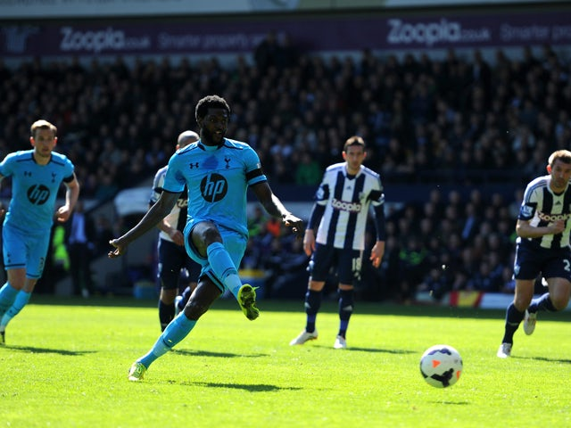 Emmanuel Adebayor of Spurs misses a with a penalty attempt during the Barclays Premier League match between West Bromwich Albion and Tottenham Hotspur at The Hawthorns on April 12, 2014