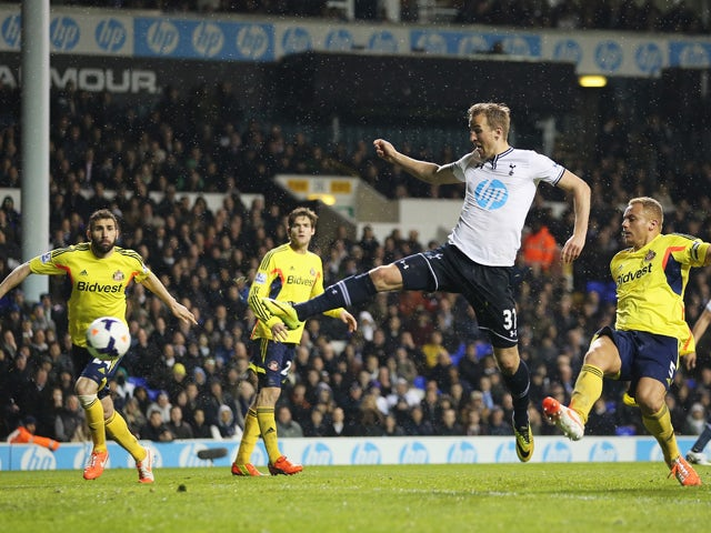 Harry Kane of Tottenham Hotspur scores his team's second goal during the Barclays Premier League match between Tottenham Hotspur and Sunderland at White Hart Lane on April 7, 2014