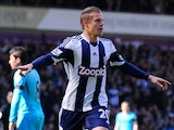 West Bromwich Albion's Czech forward Matej Vydra celebrates after scoring the opening goal during the English Premier League football match between West Bromwich Albion and Tottenham Hotspur at The Hawthorns in West Bromwich on April 12, 2014