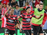 Youssouf Hersi of the Wanderers celebrates after scoring the match winning goal during the round 27 A-League match between Melbourne Heart and the Western Sydney Wanderers at AAMI Park on April 12, 2014