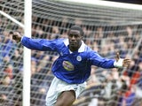 Ade Akinbiyi celebrates scoring for Leicester City against Coventry City on April 07, 2001.