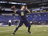 Former Alabama quarterback A.J. McCarron works out during the 2014 NFL Combine at Lucas Oil Stadium on February 23, 2014