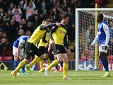 Watford's Albert Riera celebrates after scoring the opening goal against Ipswich during the Championship match on April 19, 2014