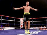 Callum Smith celebrates victory over Kirill Psonko during their Super Middleweight bout at SECC on September 7, 2013