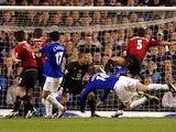 Duncan Ferguson scores for Everton against Manchester United on April 20, 2005.