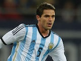 Fernando Gago of Argentina plays the ball during the International friendly football match Romania vs Argentina in Bucharest, Romania on March 5, 2014