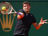 Grigor Dimitrov in action against Marcel Granollers during the Monte Carlo Masters second round on April 16, 2014