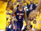 Jeff Teague #0 of the Atlanta Hawks dribbles the ball against the Indiana Pacers in Game 1 of the Eastern Conference Quarterfinals during the 2014 NBA Playoffs on April 19, 2014