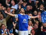 Kevin Mirallas of Everton celebrates scoring their second goal during the Barclays Premier League match against Manchester United on April 20, 2014