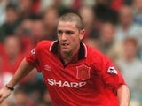 Lee Sharpe in action for Manchester United against Wimbledon on August 26, 1995.