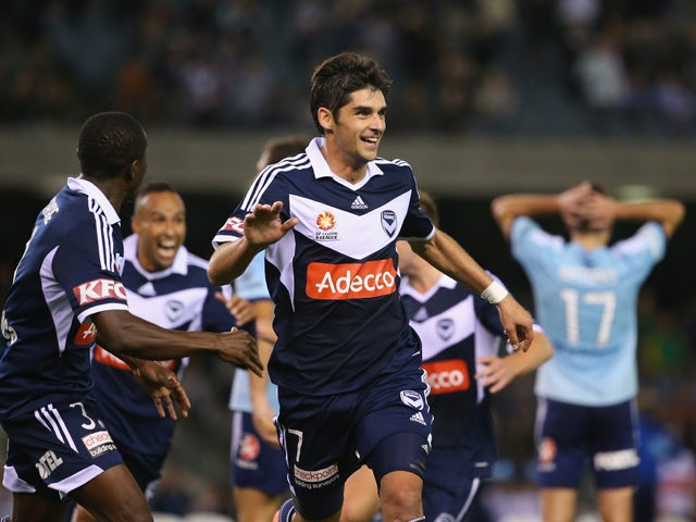Guilherme Finkler of the Victory celebrates after scoring the winning goal during the A-League Elimination Final match between the Melbourne Victory and Sydney FC at Etihad Stadium on April 18, 2014