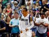 Monta Ellis #11 of the Dallas Mavericks reacts after scoring against the Phoenix Suns in the third quarter at American Airlines Center on April 12, 2014