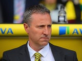Norwich manager Neil Adams prior to kick-off against Liverpool in the Premier League match on April 20, 2014