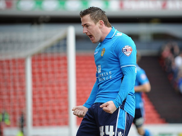Leeds' Ross McCormack celebrates after scoring the opening goal against Barnsley during the Championship match on April 19, 2014