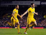 Crystal Palace's Scott Dann celebrates after scoring his team's second goal against Everton during the Premier League match on April 16, 2014