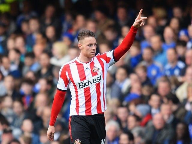 Connor Wickham of Sunderland celebrates scoring during the Barclays Premier League match between Chelsea and Sunderland at Stamford Bridge on April 19, 2014