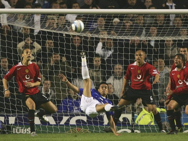 Tim Cahill, then of Everton, attempts to score with an overhead kick against Manchester United on April 20, 2005.