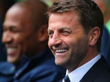 Tim Sherwood manager of Tottenham Hotspur smiles during the Barclays Premier League match between Tottenham Hotspur and Fulham at White Hart Lane on April 19, 2014