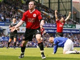 Manchester United's Wayne Rooney celebrates scoring against Everton on April 28, 2007.
