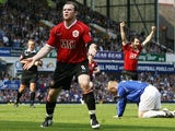 Manchester United's Wayne Rooney celebrates scoring against Everton on April 28, 2007.