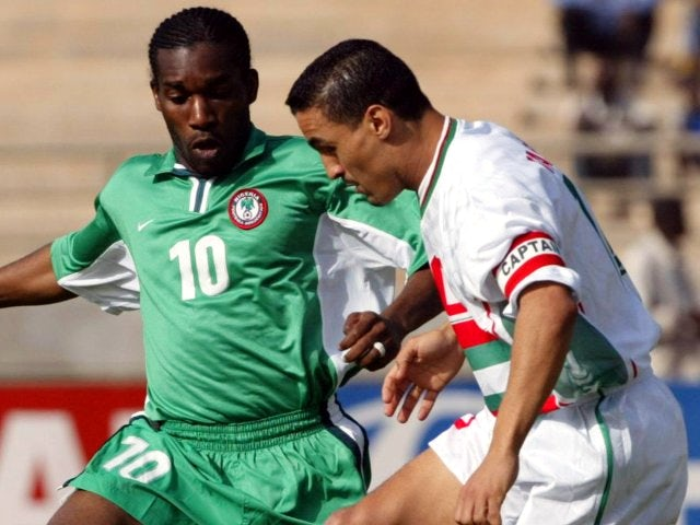 Algeria's Abdelhafid Tasfaout in action against Nigeria on January 21, 2002.