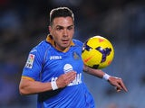 Adrian Colunga of Getafe CF in action during the La Liga match between Getafe CF and Athletic Club at Coliseum Alfonso Perez stadium on October 28, 2013