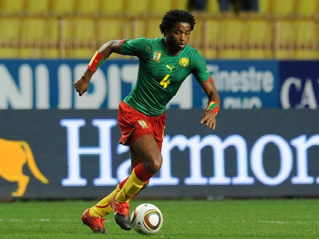 Barcelona midfielder Alex Song in action for Cameroon on March 03, 2010.