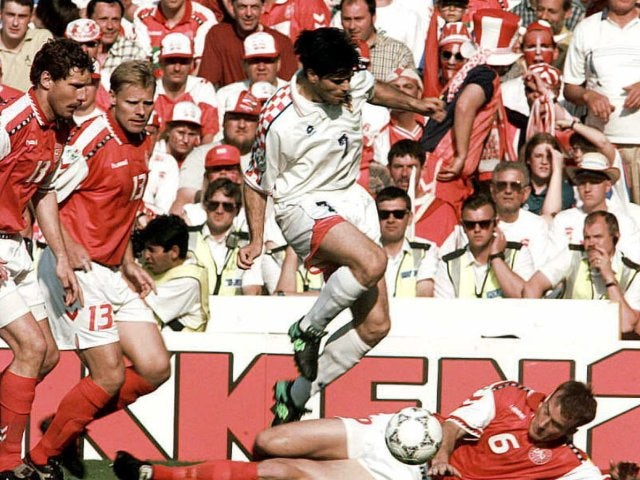 Croatia's Aljosa Asanovic in action against Denmark in the European Championships on June 16, 1996.