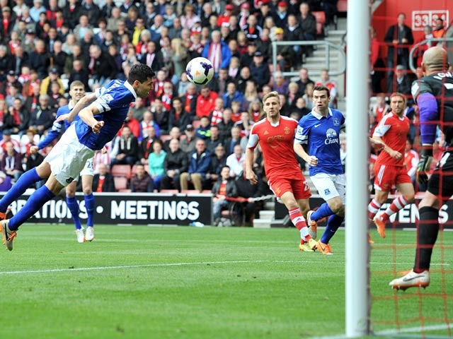 Everton's Antolin Alcarez scores an own goal to put Southampton 1-0 up during the Premier League match on April 26, 2014