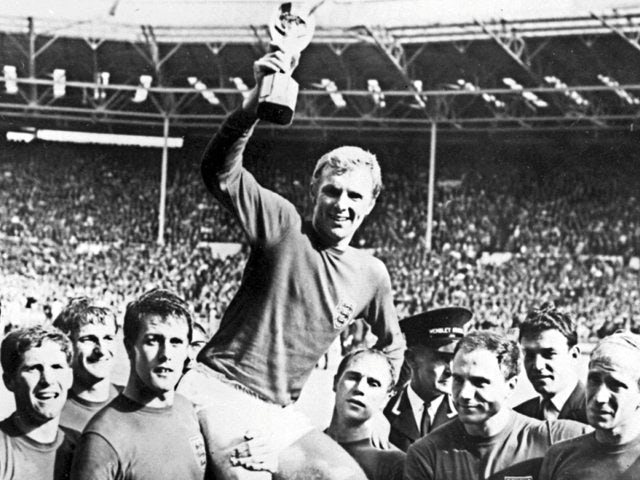 England captain Bobby Moore lifts the World Cup on July 30, 1966.