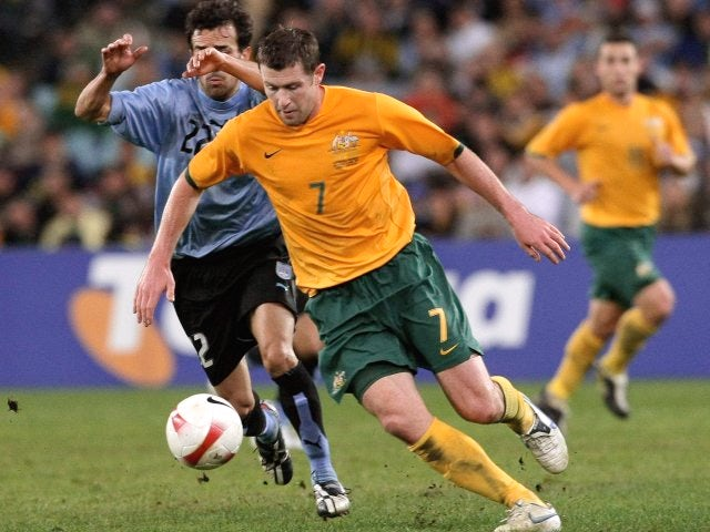 Brett Emerton in action for Australia on June 02, 2007.
