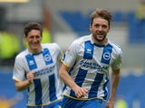 Dale Stephens of Brighton celebrates after opening the scoring during the Sky Bet Championship match between Brighton & Hove Albion and Blackpool at Amex Stadium on April 21, 2014